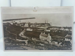 Vintage Rp Postcard View of Harbour and Stoneworks Alderney 1950s/60s Unposted