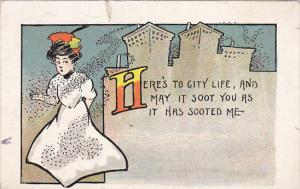 Humour Here's To City Life Woman Covered In Soot 1908