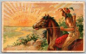 Sleepy Eye MI~Horseback Indian @ Sunrise~Meritorious Flour Postcard AD c1910