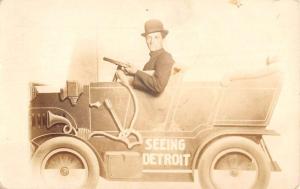Detroit Michigan Early Auto Studio Real Photo Antique Postcard K78635