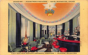 Jacques French Restaurant, Chicago, Illinois, Early Linen Postcard, Unused