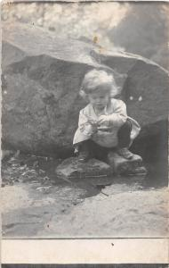 D91/ Interesting Photo RPPC Postcard Child Kid c1910 Girl in the Creek Cute 20