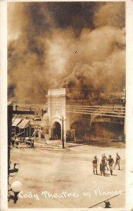 LP06 Deming New Mexico RPPC Postcard Cody Theatre Fire