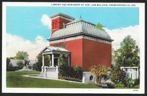 Library & Monument General Lew Wallace Crawfordsville Indiana Unused c1920s
