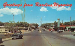 Rawlins Wyoming~Street Scene~Lincoln Highway Route 30~Gas Station-Pumps~50s Cars