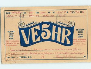 1930s QSL RADIO CARD Victoria - Vancouver Island British Columbia BC AH3149