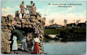 Milwaukee, Wisconsin Postcard Grotto & Lake in Mitchell Park 1911 WI Cancel