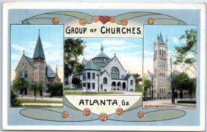 Atlanta, Georgia Postcard GROUP OF CHURCHES Presbyterian Baptist c1920s Unused