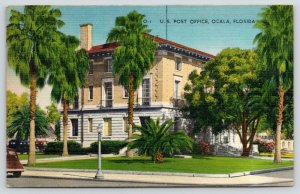 Ocala Florida~US Post Office~Classic Cars Parked Around Back~1945 Postcard