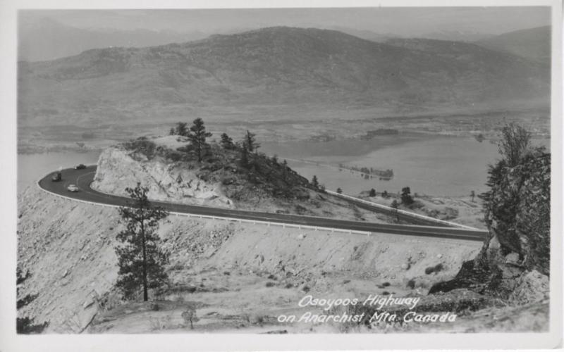 Osoyoos Highway on Anarchist Mtn ~ Osoyoos British Columbia BC ~ RPPC Postcard