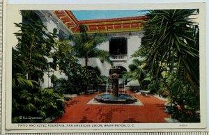 1940s Pan American Union Washington DC Postcard Patio Aztec Fountain EL Crandall