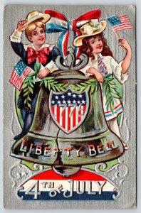 Patriotic 4th of July~Victorian Children on Liberty Bell~Silver Back Emboss~NASH