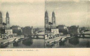 Postcard Stereographic image Switzerland Suisse Zurich Cathedrale