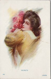Secrets Young Woman Pink Roses Flowers Portrait Unused Anglo Series Postcard F36