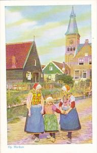 Netherlands Marken Young Girls In Traditional Costume