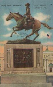 Caesar Rodney Monument Rodney Square Wilmington DL Posted Vintage Linen PostCard