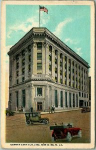 Wheeling, West Virginia Postcard GERMAN BANK BUILDING Street Scene c1920s