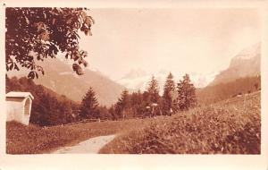 Switzerland Old Vintage Antique Post Card Mountain Scene Writing on back Real...