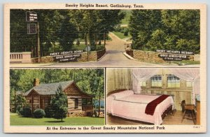 Gatlinburg Tennessee~Smoky Heights Resort~Log Cabin~Guest Room~Bridge~1940 Linen
