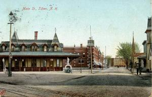 NH - Tilton.  Railroad Station, Depot & Main Street