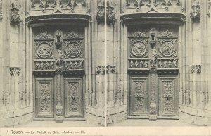Postcard France ROUEN stereographic image Portail de Saint Maclou