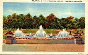 Indiana Indianapolis Garfield Park Fountains In Sunken Gardens 1951 Curteich