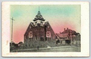 Detroit Minnesota~Evangelical Lutheran Synod Church~1915 Colored Sky Postcard
