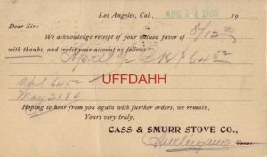 pre-1907 CASS & SMURR STOVE CO. LOS ANGELES, CA 1905 receipt of valued favor