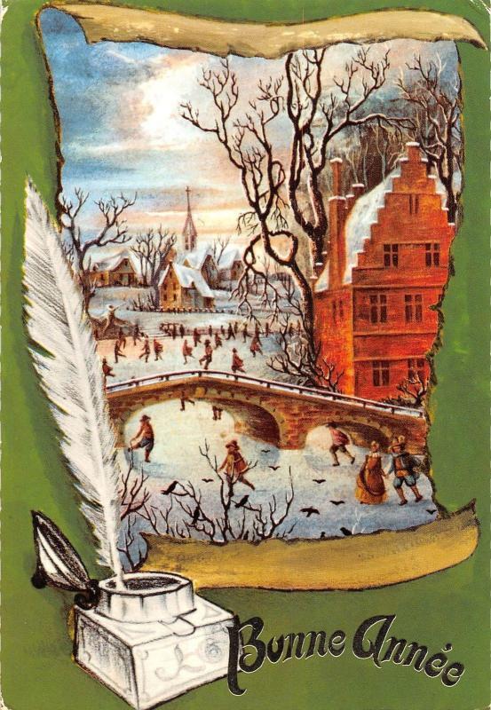 bonne annee happy new year church frozen lake bridge