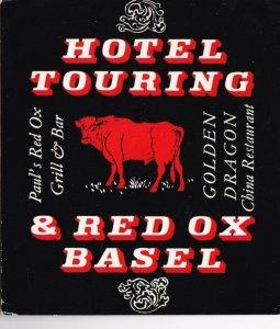 Switzerland Basel Hotel Touring & Red Ox Restaurant Vintage Luggage Label lb0948