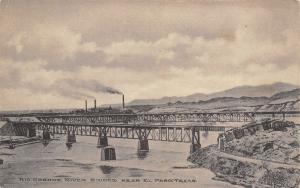El Paso Texas~Rio Grande River Bridges~Railroad~Smokestack~1907 Albertype PC