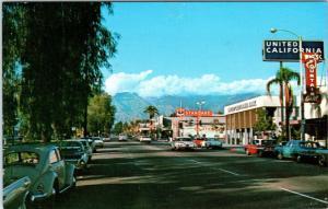 ONTARIO, CA California  Euclid Ave STREET SCENE  Gas  50s, 60s Cars   Postcard