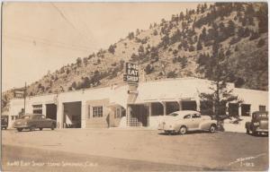 Colorado Co Real Photo RPPC Postcard c1940s IDAHO SPRINGS Eat & Shop Roadside