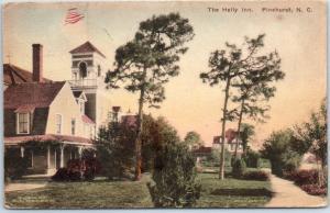 Pinehurst, North Carolina Postcard THE HOLLY INN Hand-Colored w/ 1920 Cancel