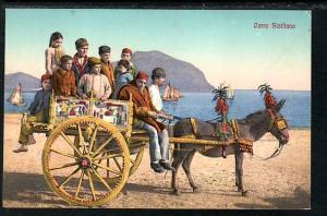 Donkey Cart Sicily Italy Post Card 5295