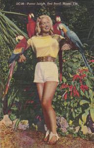 Florida Miami Beautiful Girl Holding Macaws At Parrot Jungle