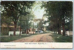 Postcard RI Wickford West Main 1908 Street View Pub by E.E. Young Druggist Q5