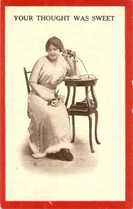 Lady at the phone. Your thought was seet Old vintage antique American postard