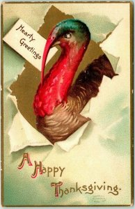 1910s Artist-Signed CLAPSADDLE Thanksgiving Postcard Turkey Hearty Greetings