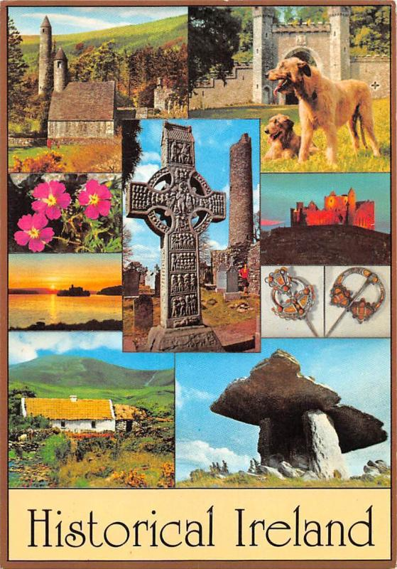 Historical Ireland, Church Cross Dog Houses General view Sunset Island