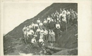 Social history excursionists trippers early photo postcard