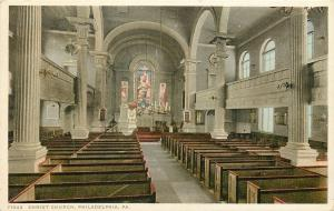 Philadelphia Pennsylvania~Christ Church~Interior~1920s Postcard