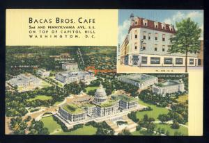 Washington, DC Postcard, Bacas Bros Cafe, View Of Capitol/Supreme Court/Library