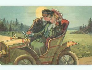 Pre-Linen COUPLE KISSING IN ANTIQUE AUTOMOBILE CAR AB8217