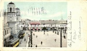 puerto rico, SAN JUAN, The Plaza, Tram Street Car (1905)