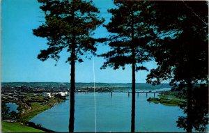 St Josephs Convent Mount Carmel view Mississippi River Dubuque IA vtg postcard