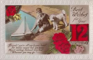 Boy With Toy Model Boat Terrier Dog Greetings Antique Old 12th Birthday Postcard