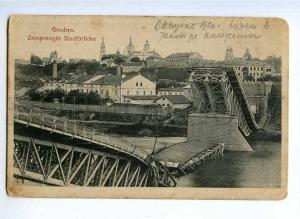 190828 WWI BELARUS GRODNO bridge Vintage postcard