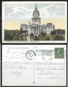 1921 Springfield, ILL, State Capitol, Lincoln Statue.