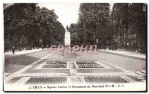 Postcard Old Lille Jussieu Square and Monument Marechal Foch